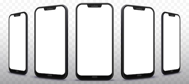 Transparante mobiele telefoonillustratieset vanuit verschillende hoeken en perspectieven