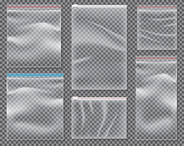 Transparante nylontas met slot of ritssluiting. set geïsoleerde verzegelde polyethyleenverpakkingen.