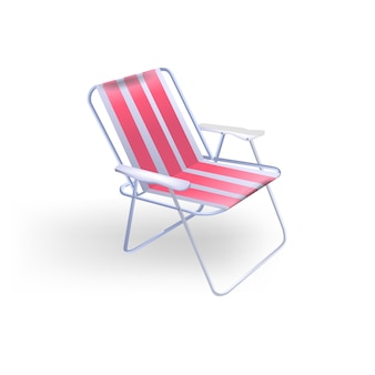 Transparante opvouwbare rode stoel voor strandrecreatie en vissen. illustratie