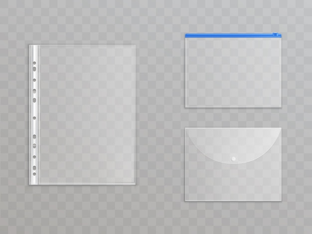 Transparante plastic bestanden - set van kantoorbenodigdheden. cellofaanmappen met ritssluiting