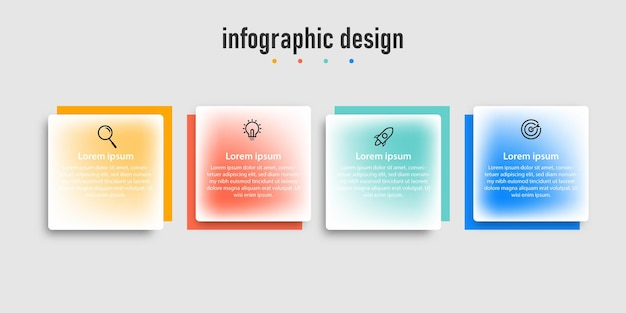 Transparante professionele stap infographic ontwerpsjabloon