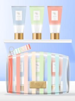 Transparante pvc cosmetica, schoonheid of waszak set met handcrème buisverpakking. zomer rainbow strepen afgedrukt.