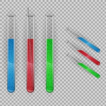 Transparante reageerbuis met vloeistoffen.