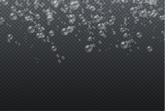 Transparante realistische kleurrijke zeepbellen, witte waterbellen met reflectie.