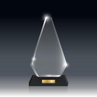 Transparante realistische lege acrylglas trofee-onderscheiding