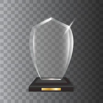 Transparante realistische lege glazen trofee-onderscheiding