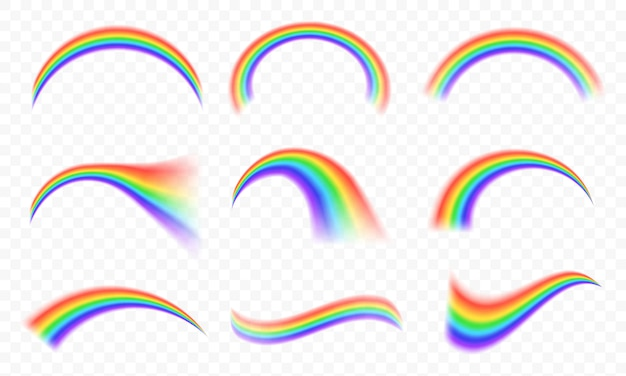 Transparante regenbogen in verschillende vormen
