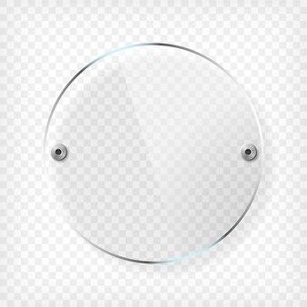 Transparante ronde glasplaat met reflectie en schaduw