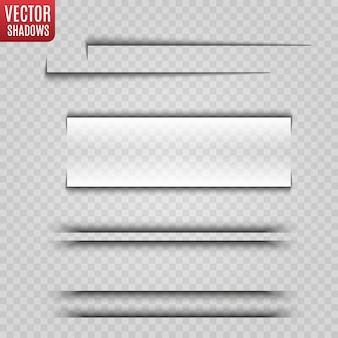 Transparante schaduw realistische afbeelding. paginascheiding met transparante schaduwen geïsoleerd.