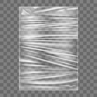 Transparante stretch plastic wikkel textuur. realistische polyethyleen inwikkeling rekfolie achtergrond. transparant cellofaan pakket