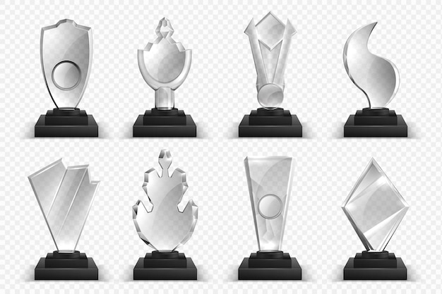 Transparante trofeeën. realistische glaskristallen, winnaarsprijzen, sterren en bekers, 3d-kampioenschapsuitreiking.