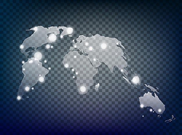 Transparante wereldkaart zonlicht met lichteffect.