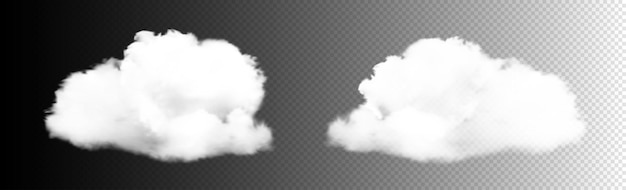 Transparante wolken instellen. witte bewolking, mist of smog