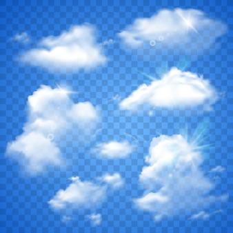 Transparante wolken op blauw