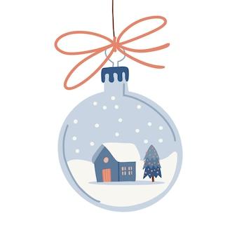 Transparante zilveren kerstballen met feestelijk tafereel in gezellig huis met spar op een besneeuwde landsc...
