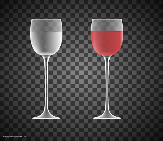Transparantie wijnglas. leeg en vol.