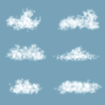 Transparency gradient clouds set