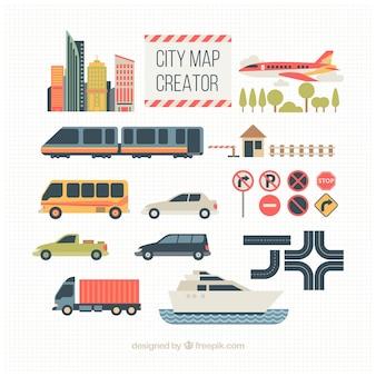 Transport elementen voor het creëren van een stad