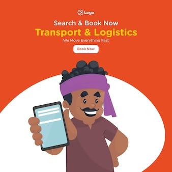 Transport en logistiek bannerontwerp met vrachtwagenchauffeur vertoont een mobiele telefoon