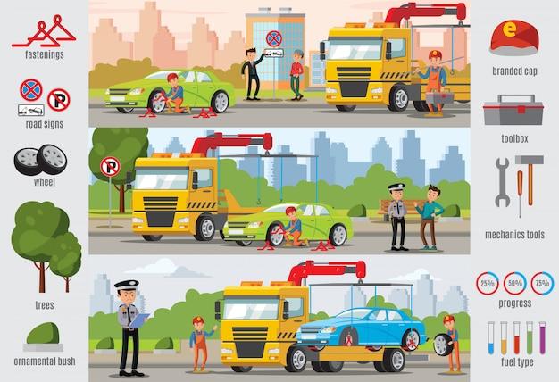 Transport evacuatie infographic sjabloon