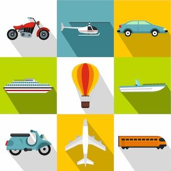 Transport icon set, vlakke stijl