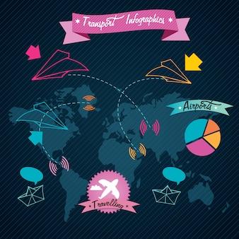 Transport infographics kleurrijke vluchtinformatie op donkere achtergrond