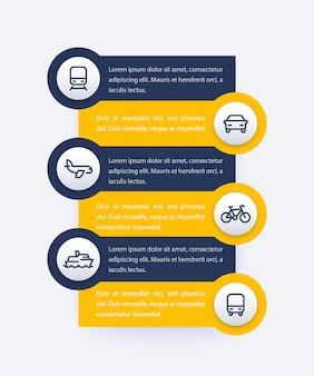 Transport, infographicsontwerp voor openbaar vervoer met lijnpictogrammen