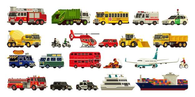Transport instellen moderne illustratie
