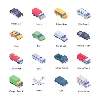 Transport isometrische vectoren pack