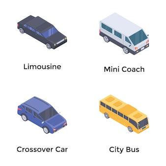 Transport isometrische vectorenset