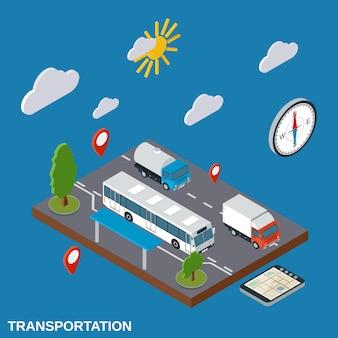 Transport, levering, logistiek plat isometrisch
