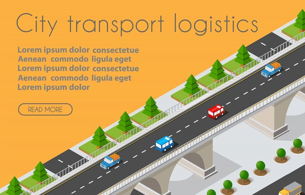 Transport logistiek 3d isometrische stad geïllustreerd