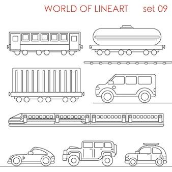 Transport spoorbaan wagen stortbak container jeep al lineart set. lijn kunstcollectie.