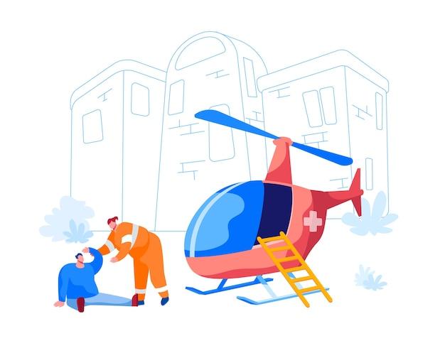 Transport voor medisch personeel concept. redder karakter help gewonde man op straat. noodhelikopter ambulance geparkeerd bij de eerste hulpafdeling in het ziekenhuis. cartoon mensen