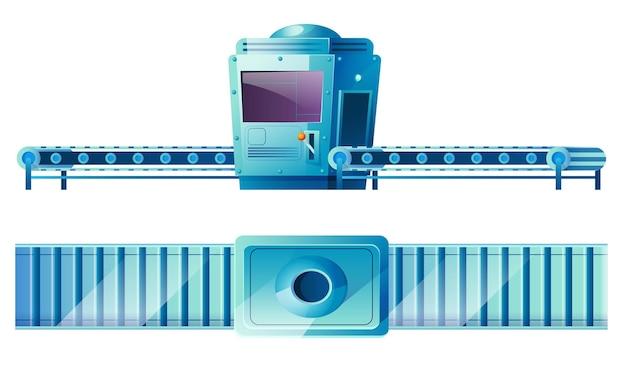 Transportband in fabriek vooraan en bovenaanzicht