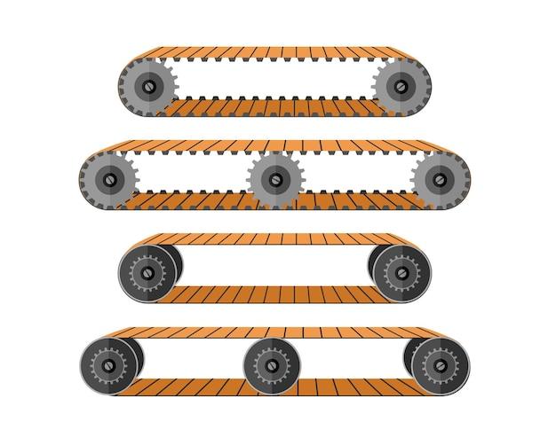 Transportband. industriële machineroltrap met bewegende rollen voor het verplaatsen van goederenapparatuur voor het vervoeren van tassen en vectormensen