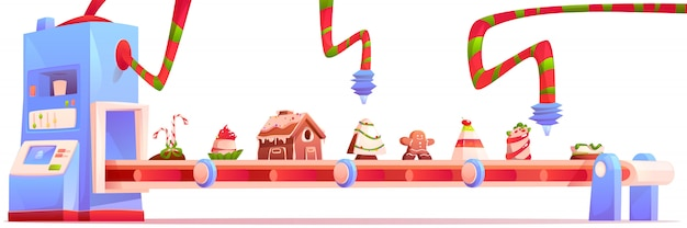 Transportband met kerst snoep en snoep fabriek