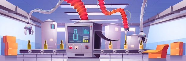 Transportband op drankproductiefabriek