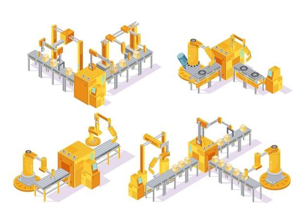 Transportbandsysteem met het isometrische ontwerpconcept van de computercontrole met inbegrip van productielijn en verpakking geïsoleerde vectorillustratie