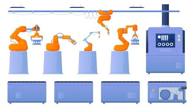 Transportbandsysteem van afzonderlijke onderdelen. robo handen. automatische productie. mechanische lopende band