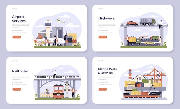Transportinfrastructuursector van de webbanner of bestemmingspagina-set van de economie