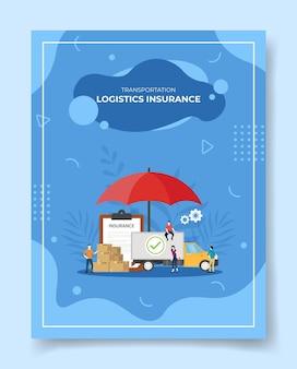 Transportlogistiek verzekering mensen rond vrachtwagen bezorgbox pakket