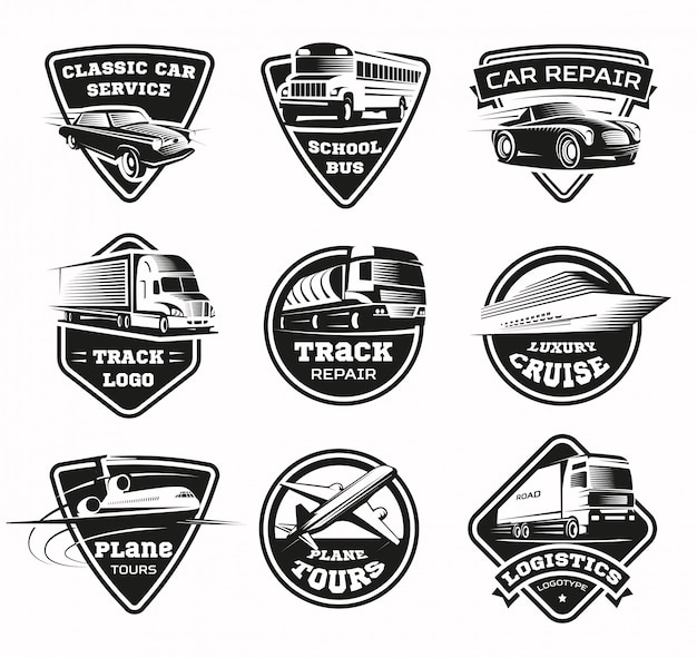 Transportmodi monochrome emblem set