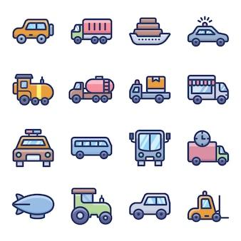 Transportmodi pictogrammen