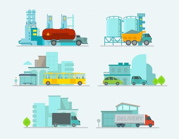 Transportset. de vrachtwagens beëindigen bus, personenauto's in stad.