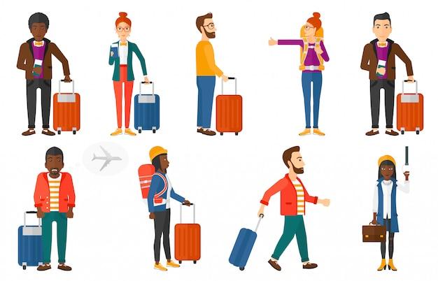 Transportset met mensen die reizen.
