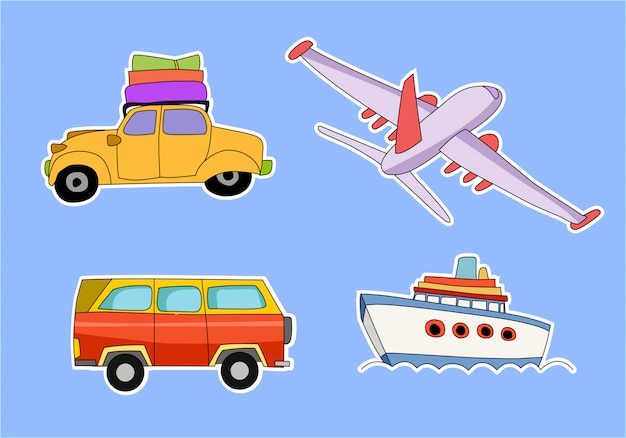 Transportthema met auto, vliegtuig, vrachtwagen, taxi, schip