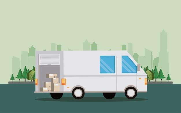 Transportvoertuig bestelbus cartoon