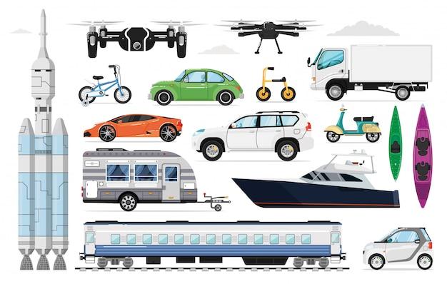 Transportvoertuigen ingesteld. verschillende transportcollectie. geïsoleerde auto, jacht, trein, drone, vrachtwagen, fiets, ruimteschip, caravan, sportwagen, suv-voertuigpictogrammen. lucht-, wegvervoer