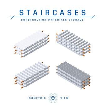Trap opslag, isometrische weergave. set van concrete pictogrammen voor architectonische ontwerpen. collectie bouwproducten. geïsoleerd op een witte achtergrond in vlakke stijl.